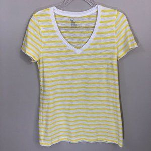 GAP V-Neck Yellow Stripe Tee M